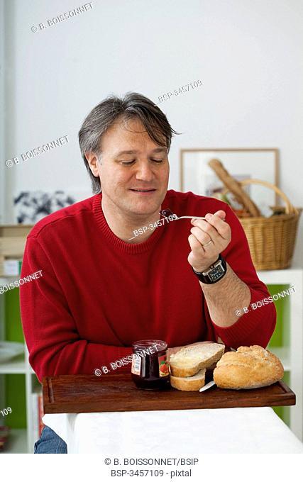 MAN EATING BREAKFAST Model