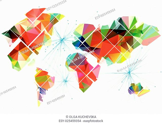 abstract multicolor world map on whita background