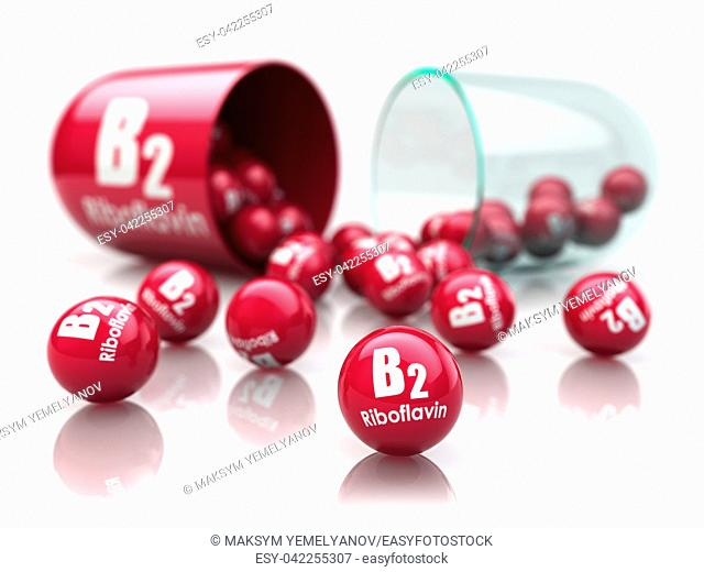 Vitamin B2 capsule. Pill with riboflavin. Dietary supplements. 3d illustration