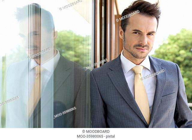 Portrait of confident businessman leaning on glass door