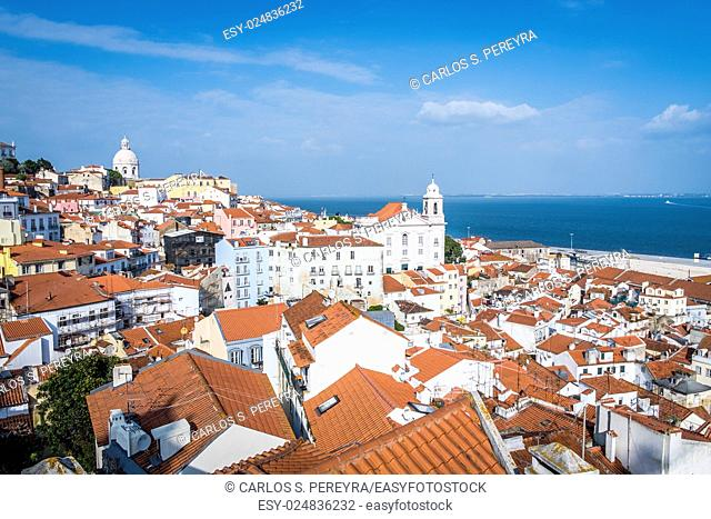 Panoramic of Alfama district and Taugus river in Lisbon Portugal