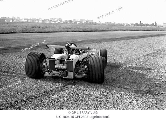Chris Amon testing a Ferrari 312B in Modena