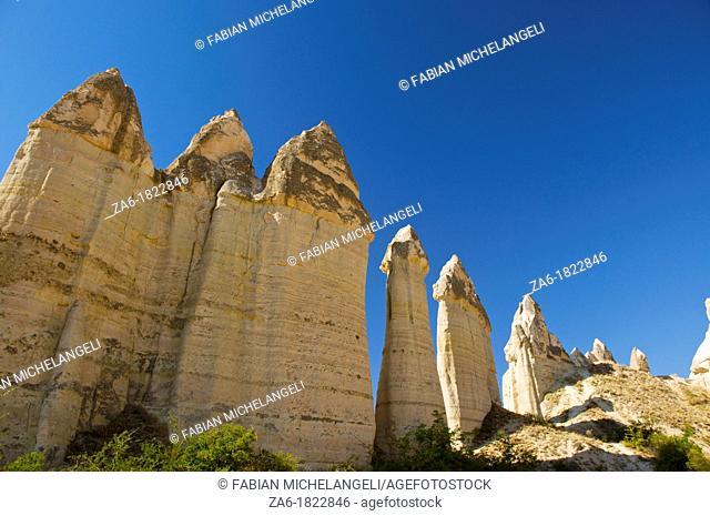 Fairy chimneys in Love Valley, in Cappadocia, Central Anatolia, Turkey