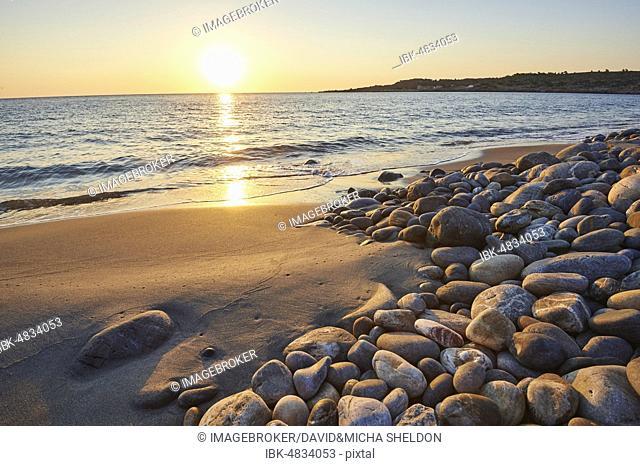 Stony beach, Beach at sunset, Agia, Thessaly, Crete, Greece, Europe