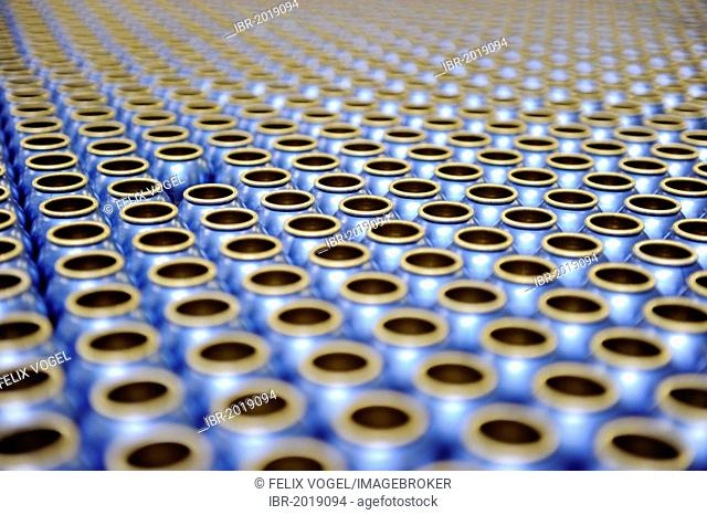 Empty aluminum bottles before being filled with deodorant, German cosmetics manufacturer