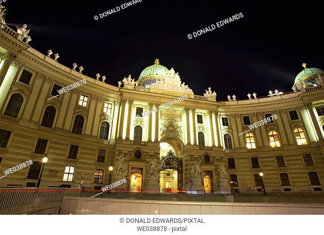 The Michaelertor, At Night, Hofburg Complex, Vienna, Austria