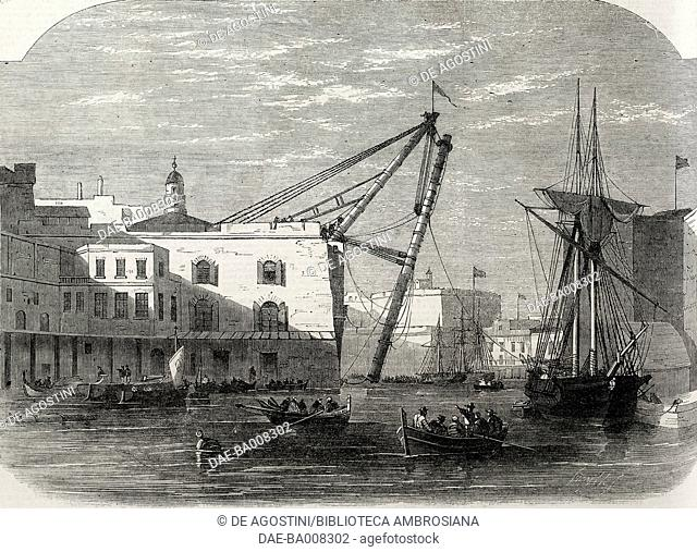 Erection of the new iron sheers in the dockyards in Malta, illustration from the magazine The Illustrated London News, volume XLVI, January 7, 1865