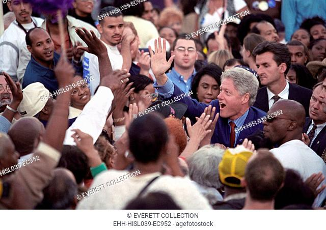 President Bill Clinton at a 'Get Out the Vote' Rally in Los Angeles, CA. Five days before the 2000 National Election, Clinton works a crowd in support of his...