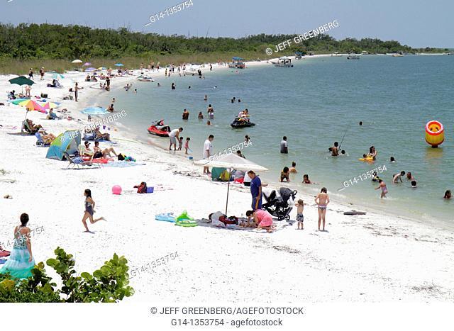 Florida, Ft  Fort Myers, Estero, Carl E  Johnson State Park, sunbathers, public beach