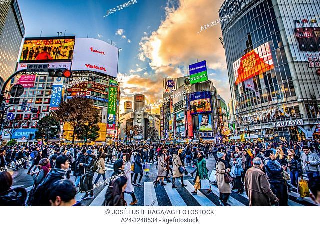 Japan, Tokyo City, Shibuya Ward, Hachiko Crossing