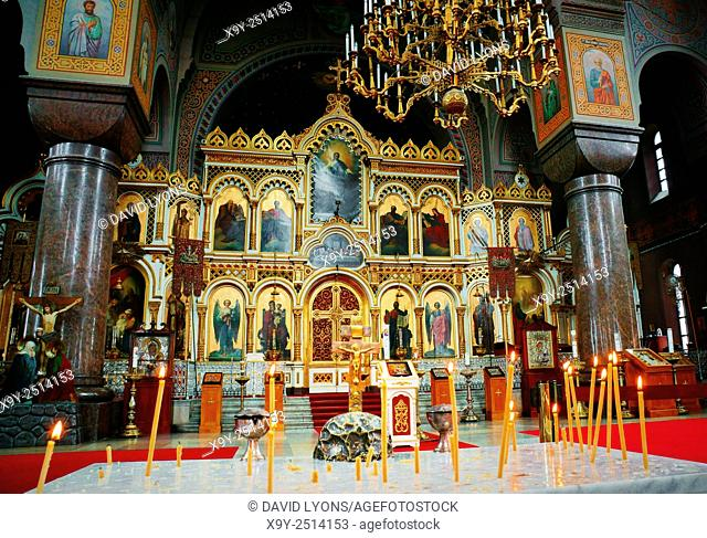 Helsinki, Finland. Saint portraits on the iconostasis and massive pillars of The Finnish Orthodox Uspenski Cathedral. Consecrated 1868