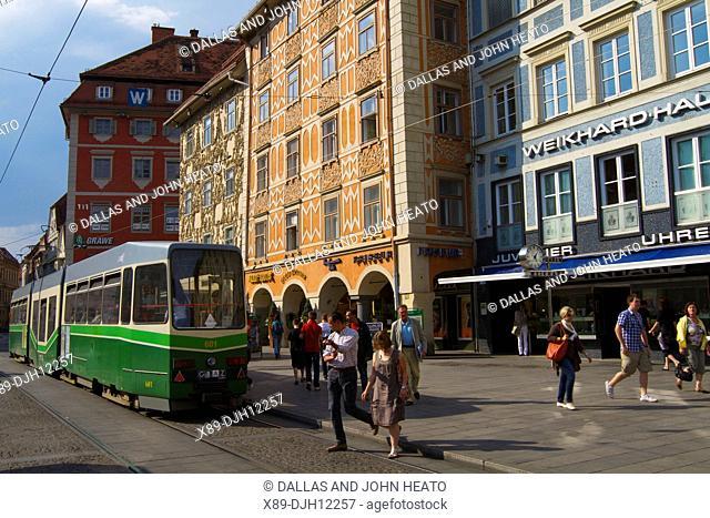 Austria, Styria, Graz, Hauptplatz, Tram
