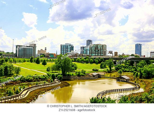 The city of Little Rock seen from the William J. Clinton Presidential Park