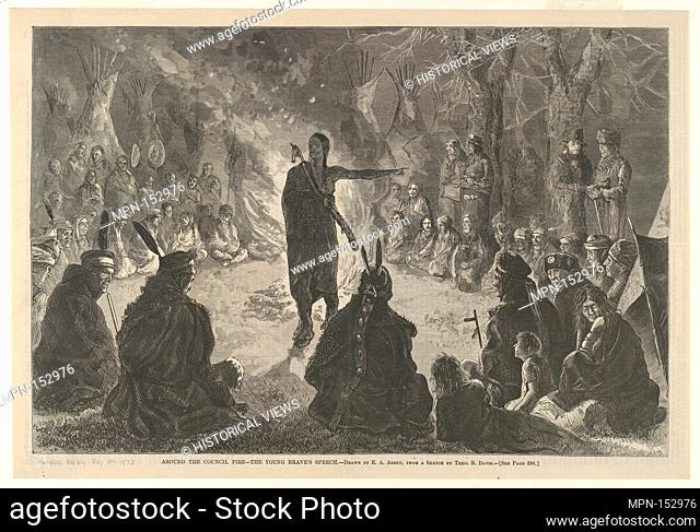 Around the Council Fire, The Young Brave's Speech (Harper's Weekly, May 10, 1873). Artist: Theodore Russell Davis (American