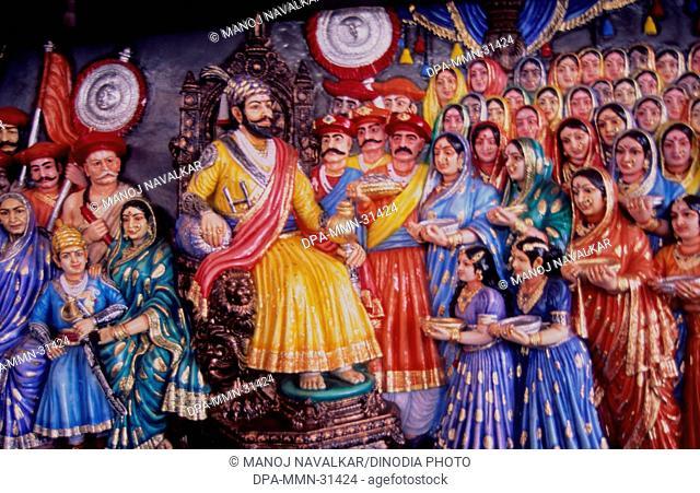 painting of Shivaji maharaja raja abhishek at dervan ; maharashtra ; india