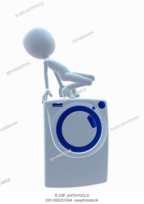 3D Guy With A Washing Machine