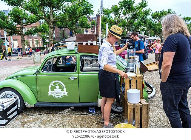 Amsterdam, Holland, outside, The Netherlands, Tourists Shopping at Food Stalls at Flea Market, Converted Old Volkswagen Car