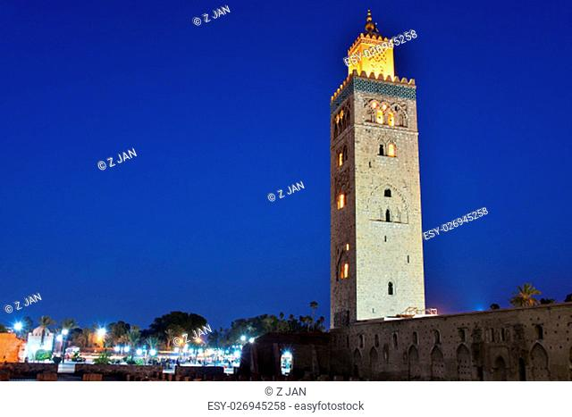 Koutoubia Mosque in the southwest medina quarter of Marrakesh, Morocco after sunset