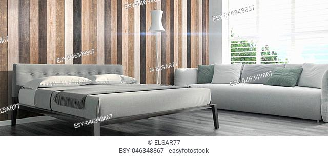 Bright interior with bed in a modern style . 3D render