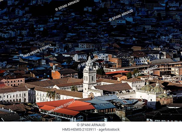 Ecuador, Quito, listed as World Heritage by UNESCO, El Tejar, overview of historic Quito and Santo Domingo Church at sunset