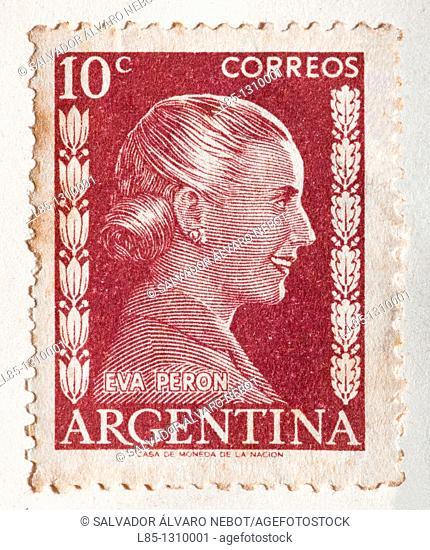 Old Postage Stamp, Eva Peron, Argentina
