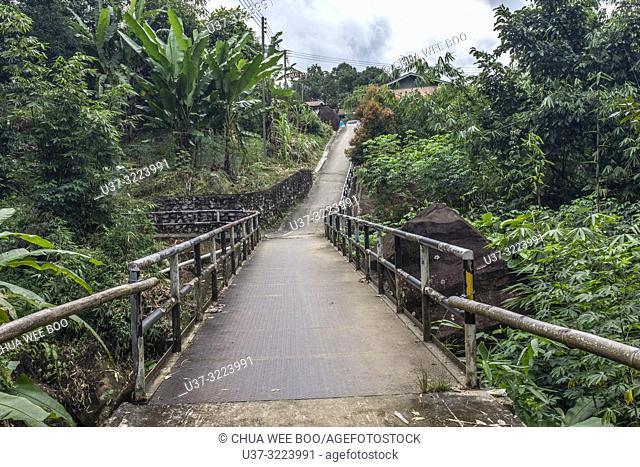 A small wooden bridge at Kampung Gumbang, Sarawak, Malaysia