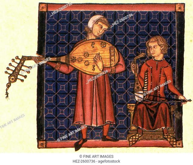 Two minstrels. Illustration from the codex of the Cantigas de Santa Maria, c. 1280. Found in the collection of the Monasterio de El Escorial