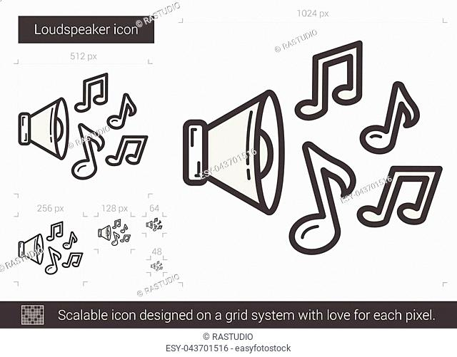 Loudspeaker vector line icon isolated on white background. Loudspeaker line icon for infographic, website or app. Scalable icon designed on a grid system