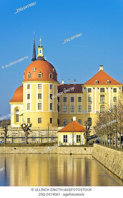 Schloss Moritzburg Castle near Dresden, Saxony, Germany, exterior view in winter