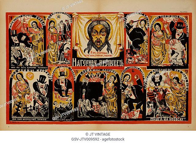 Anti-Religion Propaganda Poster, Bezbozhnik u Stanka Magazine, Illustration by Dmitry Moor, Russia, 1923