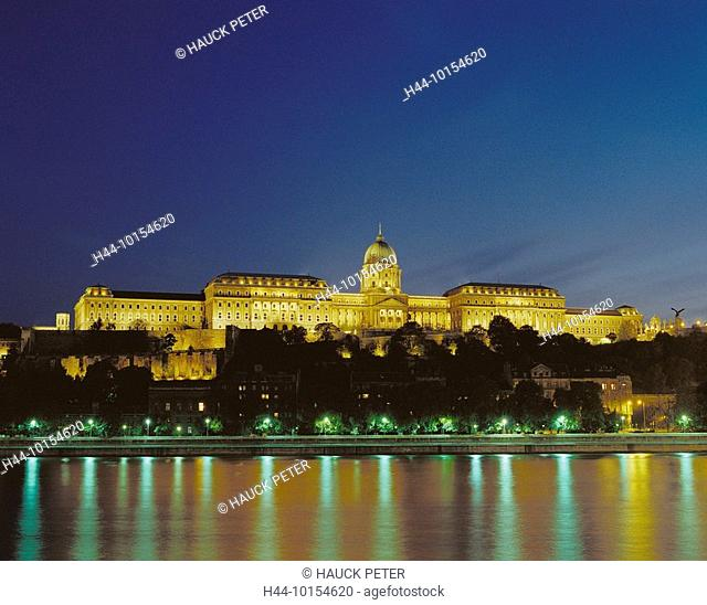 10154620, Hungary, Europe, Budapest, at night, castle arrangement, Danube, lights, lighting