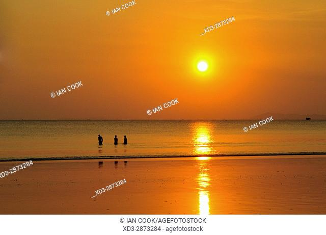 sunset over Andaman Sea viewed from Bamboo Bungalows Guest House, Ao Yai Beach, Koh Phayam, Ranong Province, Thailand