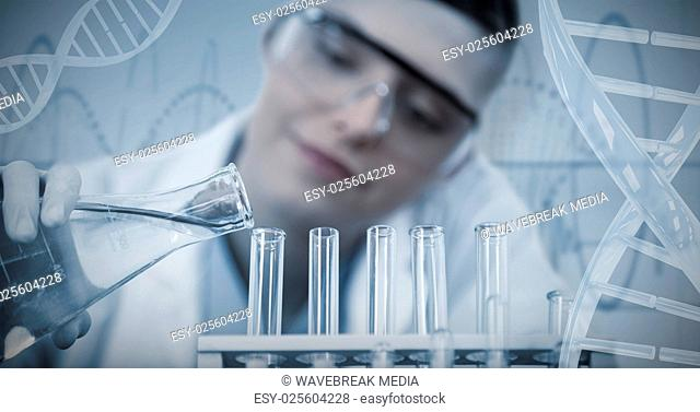 Composite image of female scientist reserching in experiment