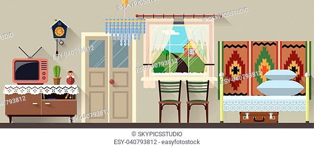Vector illustration of retro living room interior in flat style