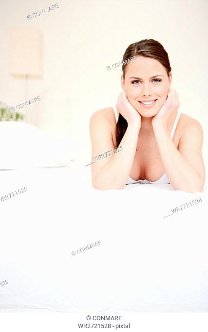 beauty care, lying, young, woman, bed, care, adult