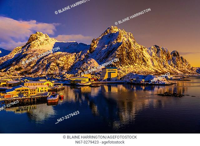 A commercial harbor in Svolvaer, on Austvagoya Island, Lofoten Islands, Arctic, Northern Norway
