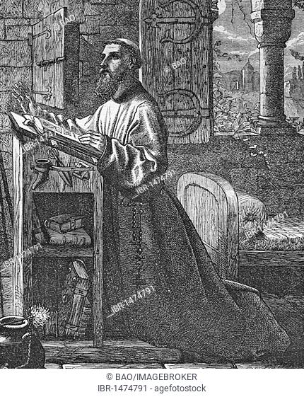 The contemplative monk, historic steel engraving from 1860