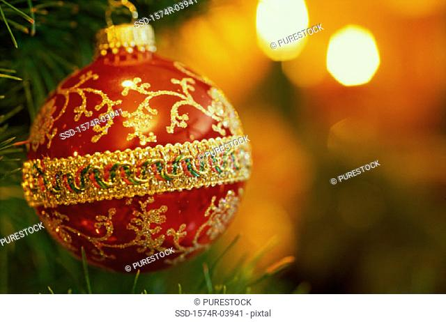 Close-up of a Christmas ornament hanging on a Christmas tree