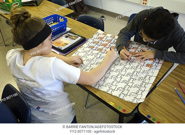 6th Grade Girls Working on Pattern Project in Math Class, Wellsville, New York, USA