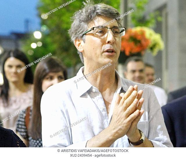Film Director ALEXANDER PAYNE walks at the streets of Aigio. The award-winning director Alexander Payne came with his mother Peggy on their family's place of...