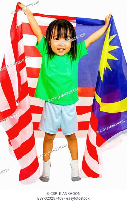 Asian Chinese Little girl with Malaysia Flag