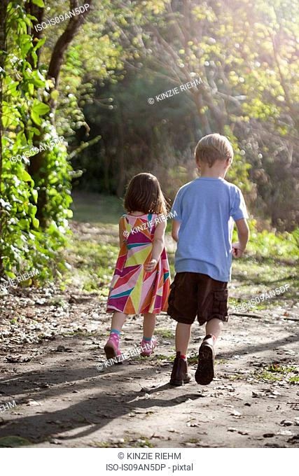 Young boy and girl walking on dirt path, rear view