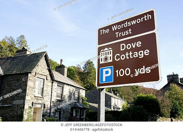UK, England, Cumbria, The Lake District, Grasmere, The Wordsworth Trust, William Wordsworth poet, Dove Cottage, sign