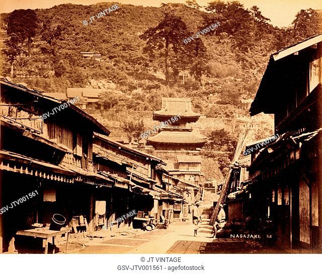 Street Scene, Nagasaki, Japan, Circa 1880