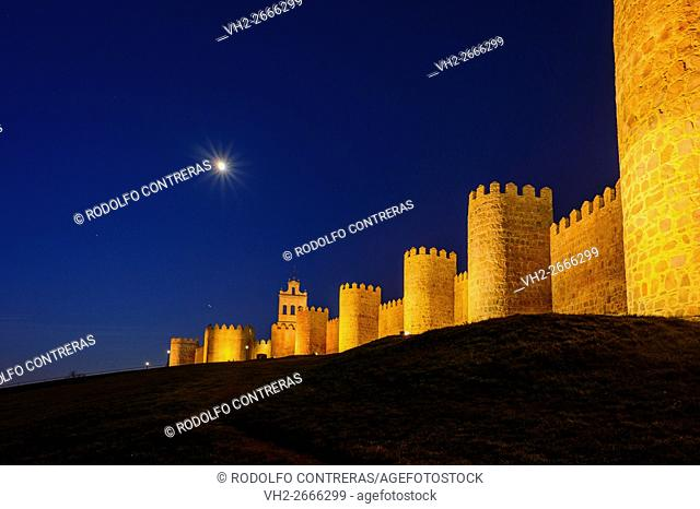 Avila wall at night