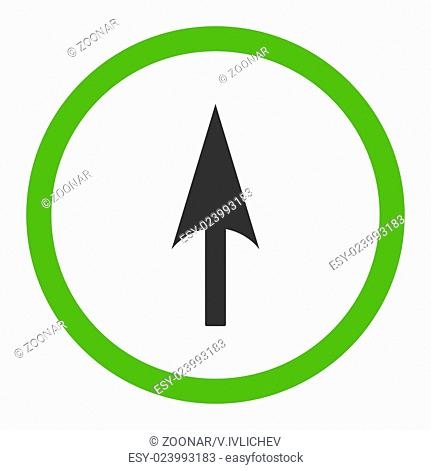Arrow Axis Y flat eco green and gray colors rounded vector icon