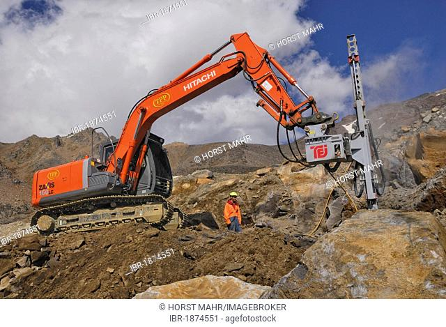 Road construction works on Mount Ruapehu with chisel excavator, Tongariro National Park, North Island, New Zealand
