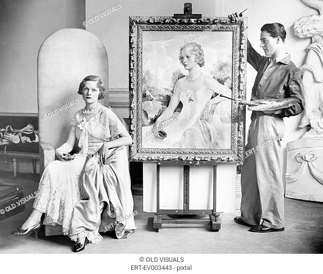 Artist painting portrait of posing woman All persons depicted are not longer living and no estate exists Supplier warranties that there will be no model release...