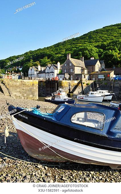 Boats in the harbour at Porlock Weir in summer, Exmoor National Park, Somerset, England, United Kingdom