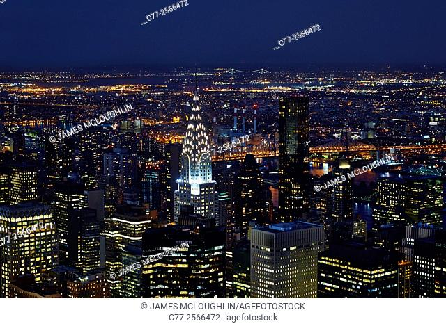 New York City, Manhattan, Skyline, Chrysler Building, Night